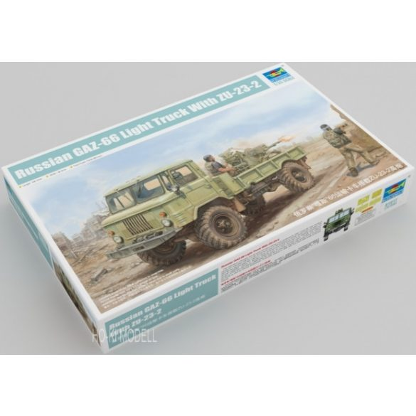 Trumpeter 01017 Russian GAZ-66 4x4 all-road Military Light Truck + Zu-23-2