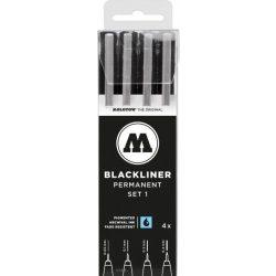 Molotow Blackliner - Fekete Panelvonal Kihúzó Toll Készlet  0,05mm - 0,1mm - 0,2mm - 0,4mm
