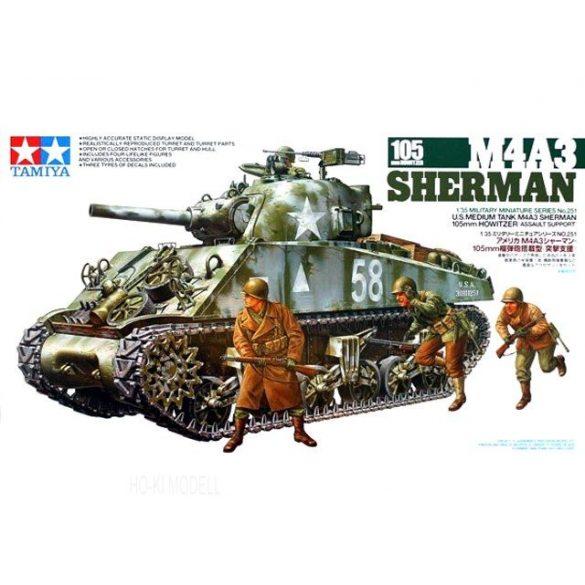 Tamiya 35251  M4A3 Sherman 105mm Howitzer + 3 figura