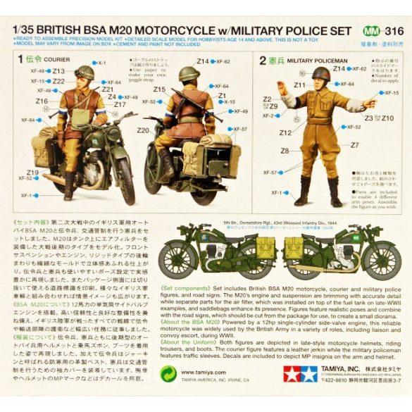 Tamiya 35316 British BSA M20 Motorcycle with Military Police