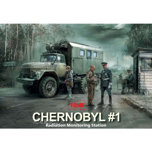 ICM 35901 Chernobyl 1. Radiation Monitoring Station ZiL-131 KShM truck & 5 figures & Diorama base