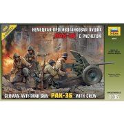 Zvezda 3610 German anti-tank gun PAK-36 (3,7cm) with Crew