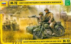 Zvezda 3639  Soviet Motorcycle Ural M-72 with sidecar and crew.