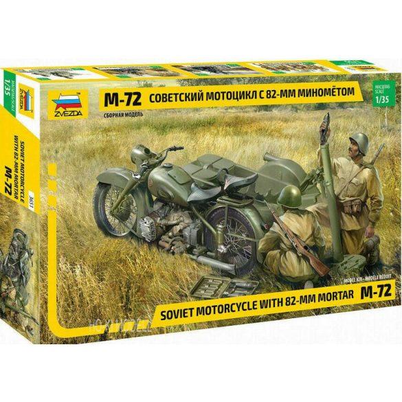 Zvezda 3651 Soviet motorcycle M-72 with 82-mm Mortar
