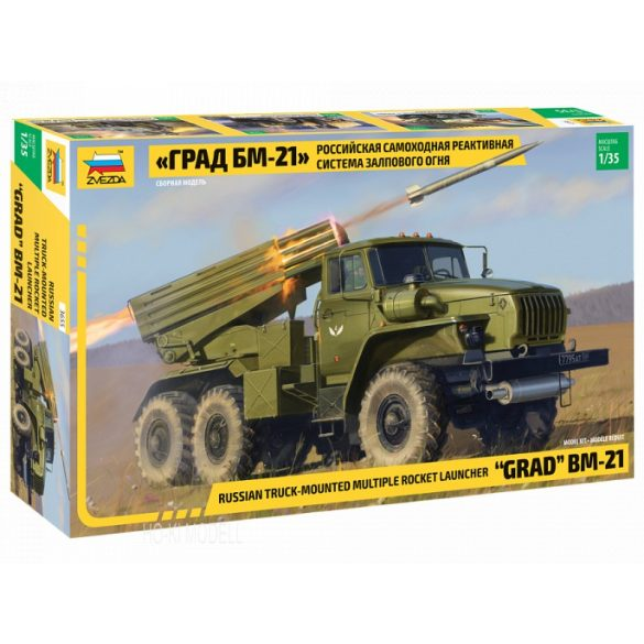 Zvezda 3655 Russian Truck Mounted Multiple Rocket Launcher GRAD BM-21