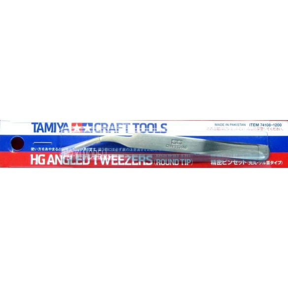 Tamiya 74108 HG Angled Tweezers - Ives csipesz kör alakú végződéssel