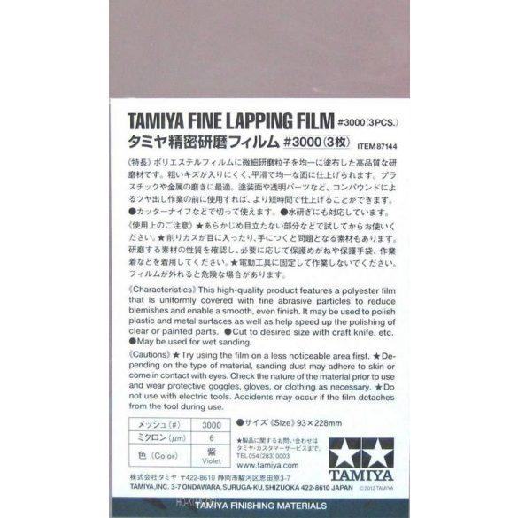 Tamiya 87144 Fine Lapping Film 3000 - Finom Csiszoló Film