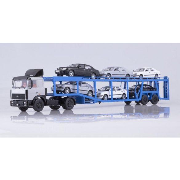 SSM 7052 MAZ-5432 Nyergesvontató 934410 Autószállító Trélerrel